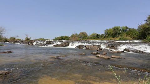 Famous Popa falls on river in Caprivi, North Namibia Live Action