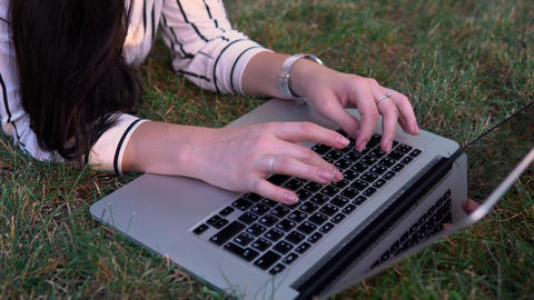 Woman Working With Laptop Outdoor 0