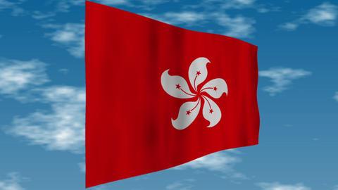 香港の旗 背景の空には雲が流れています。 CG動画