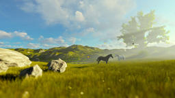 Two horses on green meadow and tree of life, beautiful morning Animation