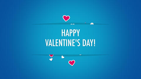 Animated closeup Happy Valentines Day text and motion romantic small red hearts on Valentines day Animation