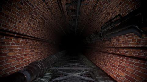 Creepy Dark Brick Industrial Sewer Tunnel Animation