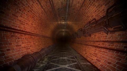 Creepy Brick Industrial Sewer Tunnel Animation
