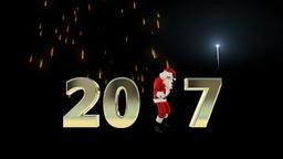Santa Claus Dancing 2017 text, Dance 2, fireworks display Animation