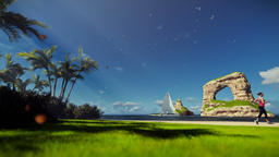 Tropical island with woman running and yacht sailing, autumn leafs Animation