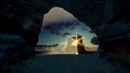 Tropical island with rocks in ocean and aircraft landing, beautiful sunrise Animation