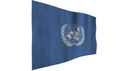 Flag of UN. The background is an alpha channel (transparent) Animation