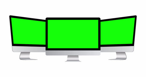 Animated Desktop PC Mockups with Green Screens Animation