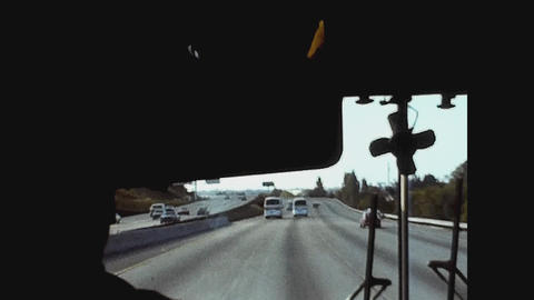 Los Angeles, USA 1979, Travel bus Los Angeles Highway Live Action