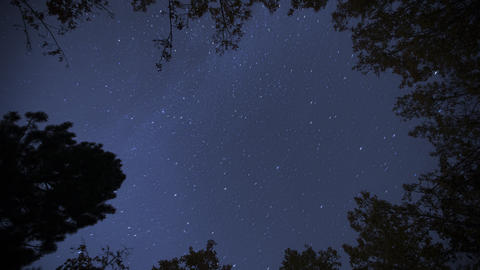 Night sky time-lapse 4K. Bright Moon and Milky way stars in night sky. Astronomy Live Action
