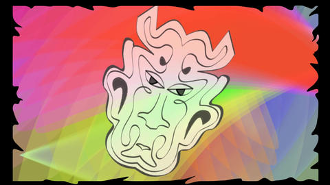 Anti drugs video with psychedelic colors, devil head rotating on vivid colored b Animation