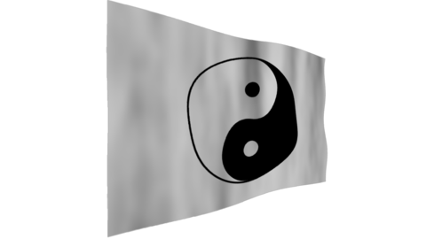 Flag of Yin and yang. The background is an alpha channel (transparent) Animation