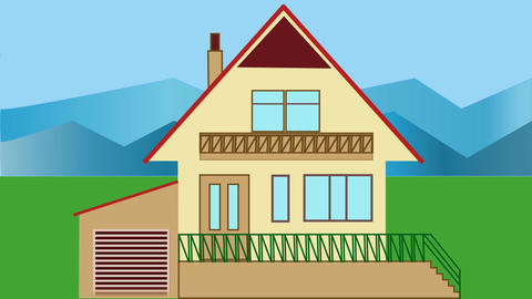 House building. Animated house construction in countryside with mountains. Adver Animation