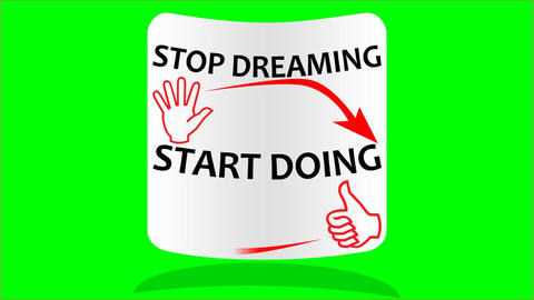 Motivation intro video with inscription Stop dreaming start doing on white label Animation