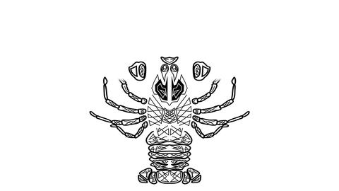Black and white animated drawing, tribal crayfish, Cancer useful as horoscope sy Animation
