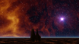 Space gas and lonely rock Stock Video Footage