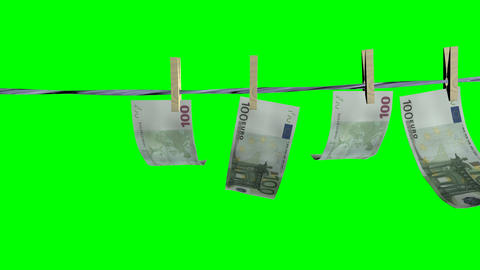 Drying Of The Euro Banknotes.Isolated Over Green Alpha stock footage