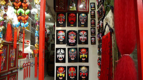 Beijing Opera mask on the store wall,chinese tradition art culture Footage