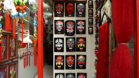 Beijing Opera mask on the store wall,chinese tradition... Stock Video Footage