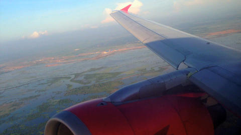 Air Asia Arriving In Phnom Penh stock footage