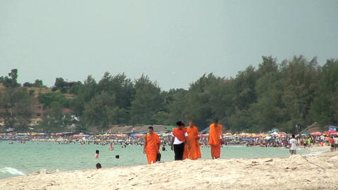 monks onbeach Stock Video Footage
