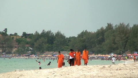 monks onbeach Footage
