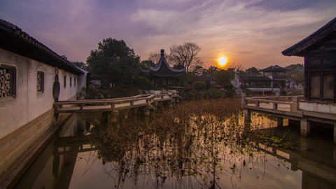 Sunset in a Old Style Chinese Garden Stock Video Footage