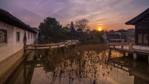 Sunset in a Old Style Chinese Garden Footage