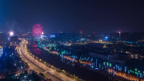 Time Lapse Firework and City Light Turn Off Footage