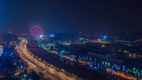 Time Lapse Firework and City Light Turn Off Stock Video Footage