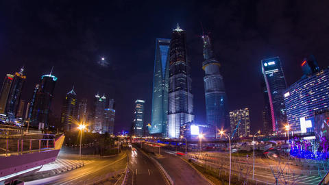 Pudong Skyscraper with traffic and moon rising Stock Video Footage