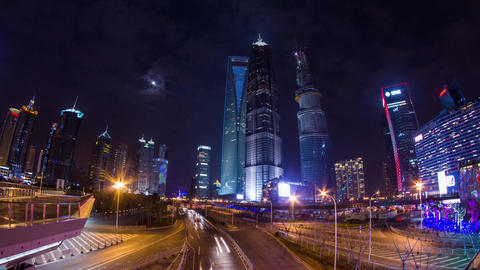 Pudong Skyscraper with traffic and moon rising Footage
