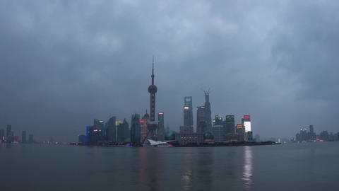 Pudong Day to Night shot with River Traffic Footage
