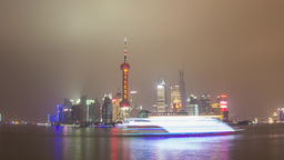 Pudong Day to Night shot with River Traffic Stock Video Footage