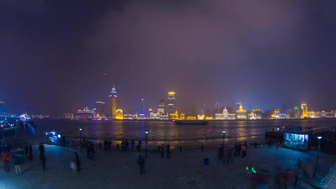 Crowds and Boats Traffic across from The Bund with Stock Video Footage