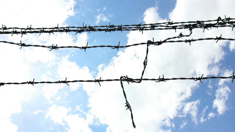 Sky Behind Barbed Wire 3 Stock Video Footage