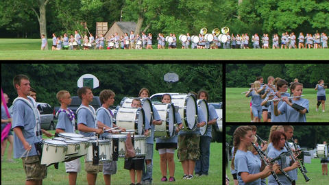 Marching Band Performing Composite Stock Video Footage