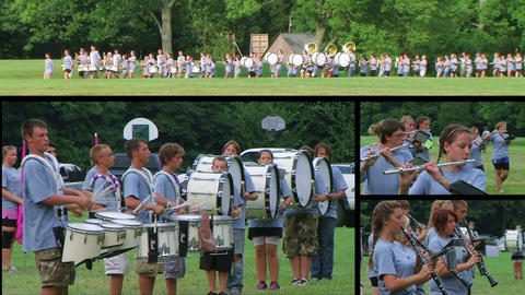Marching Band Performing Composite Footage