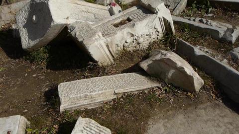 beijing yuanmingyuan history legacy wreckage,Broken stones carving Footage