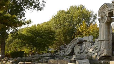 china beijing yuanmingyuan,history legacy wreckage,royal... Stock Video Footage