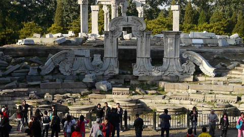 china beijing yuanmingyuan,history legacy wreckage,tourist Stock Video Footage