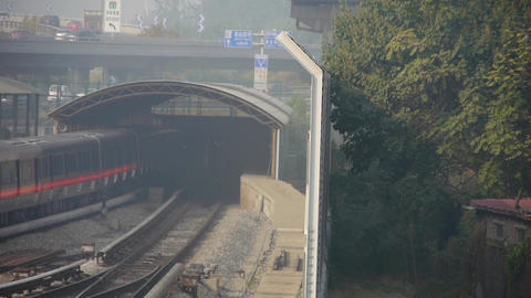 subway through tunnel in beijing,haze pollution in urban city Footage