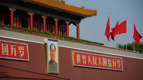 Beijing Tiananmen,flying flag,China Political center Stock Video Footage
