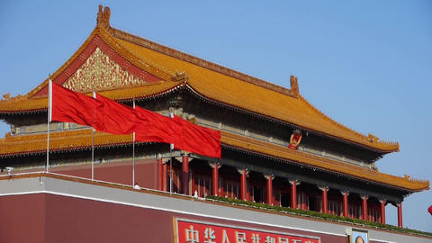 Beijing Tiananmen,flying flag,China Political center Footage