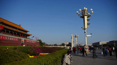 panoramic of Beijing Tiananmen & Forbidden City,tourist crowdr Footage
