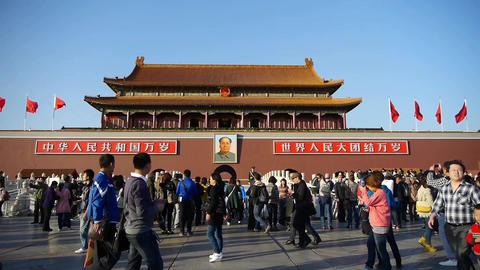 timelapse tourist on Beijing Tiananmen Stock Video Footage