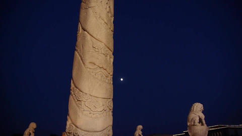 east ancient royal lion marble pillar & moon at night Stock Video Footage