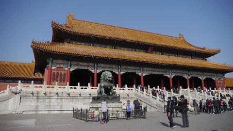 bronze lion in front of Forbidden City,China's royal... Stock Video Footage