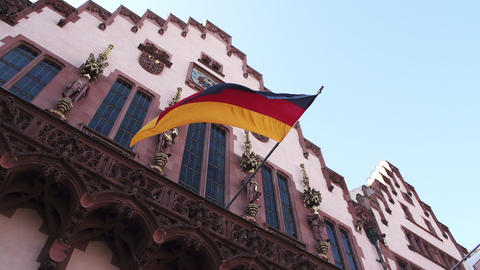 German Flag Floats In Slow Motion At The Frankfurt City Hall stock footage