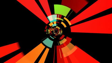 digital tunnel colorful with alpha Stock Video Footage